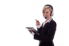 2 bizneswomanów słuchawki Zdjęcia Royalty Free
