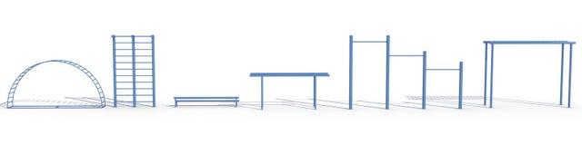 2 blåa utrustningsportar Arkivfoto