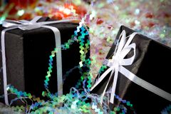 2 black gift box Royalty Free Stock Photo