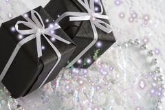2 black gift box Royalty Free Stock Photography