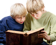 2 blonde boys reading. Fascinated together in an old book Stock Images