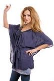 2 blondynki bluzki błękitny śliczny Obrazy Stock