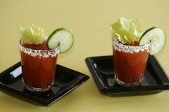 2 Bloody Mary Cocktail Drinks Royalty Free Stock Images