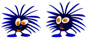 2 blue monsters. 2 blue cute monsters looking different ways royalty free illustration