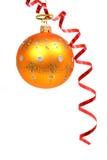 2 bożego narodzenie kolor pomarańczowej czerwonej kuli streamer Obrazy Royalty Free