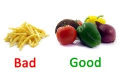 2 bons malsains sains de nourriture gâtée de couleurs Photos stock