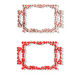 2 borders - 3D. 2 borders with hearts in red and white, isolated on a white background Royalty Free Stock Photography