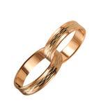2 boucles de mariage accouplées d'or Photographie stock