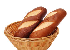 2 breads in bamboo basket Stock Photo