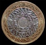 2 british coin pundet Arkivbilder