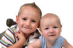 2 Brothers on their Tummys Stock Photo