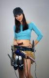 2 brunetki kobiecy rzeczy toolbelt Zdjęcia Royalty Free