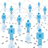 2. Business Network in blue. Rasterized royalty free illustration