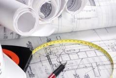 2 byggnadsritningserie Fotografering för Bildbyråer