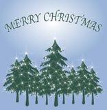 2 card christmas green tree διανυσματική απεικόνιση