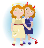 2 cartoon girls. Devil and angel illustrating Gemini zodiac sign. Objects grouped and named in English. No mesh, transparency used. Gradient used Stock Illustration