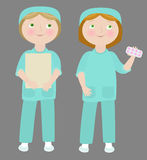 2 cartoon girls. Wearing medical uniform. Objects grouped and named in English. No mesh, transparency used. Gradient used Royalty Free Illustration