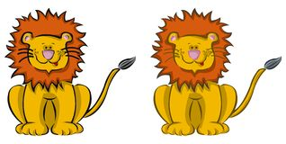 2 cartoon lions. Children illustration vector illustration