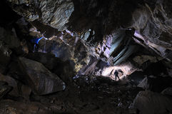 2 Caver in a cave. Pugnetto, Mezzenile, Piedmont, Italy royalty free stock images