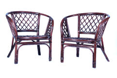 2 chairs. 2 rattan chairs with a white background Stock Photography