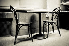 2 Chairs. A food table inside an italian restaurant in Melbourne GPO Royalty Free Stock Photography