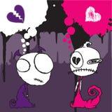 2 charakterów emo valentine Zdjęcia Stock