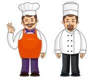 2 chef-koks in verschillende uitrustingen Stock Fotografie