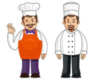 2 chefs in different outfits. An illustration of a chef in 2 different poses and outfits vector illustration