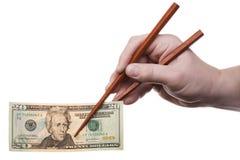 2 chopsticks τραπεζογραμματίων Στοκ Εικόνες