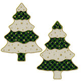 2 Christmas trees. With golden stars stock illustration