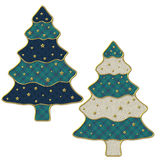 2 Christmas trees with golden stars Stock Images