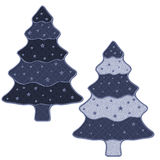 2 Christmas trees with stars. 2 blue Christmas trees with stars Stock Photo