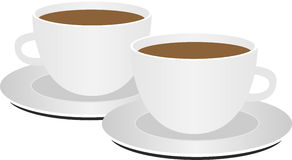 2 coffee cups on white background Royalty Free Stock Images