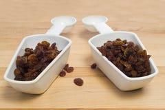 2 colheres dos Raisins Imagem de Stock Royalty Free