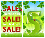 2 colorful nature banners. Vector. 2 sale banners with leaves, rays and grass Royalty Free Stock Image