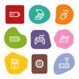 2 colour elektronika ikon serie ustawiająca punktów sieć ilustracja wektor