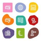 2 colour finansowe ikon serie ustawiająca punktów sieć Fotografia Royalty Free