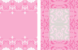 2 coordinating designs. Coordinating pink and white damask layout stock illustration