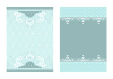 2 coordinating designs. Set of 2 matching blue tone layouts stock illustration
