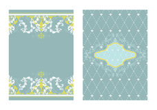 2 coordinating designs. Set of 2 matching blue & green tone layouts royalty free illustration