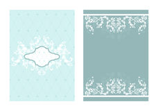 2 coordinating designs. Set of 2 matching blue tone layouts Stock Photo
