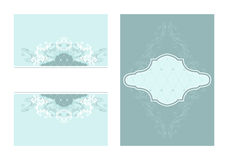 2 coordinating designs. Set of 2 matching blue tone layouts Royalty Free Stock Image