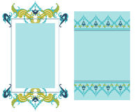 2 coordinating designs. Set of 2 matching blue & green tone layouts stock illustration