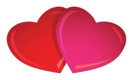 2 corazones de la tarjeta del día de San Valentín Fotos de archivo