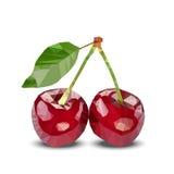 Пары 2 красных полигональных вишен с зелеными листьями также вектор иллюстрации притяжки corel Стоковые Изображения