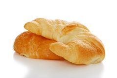 2 crescents rolls isolated with shallow DOF Royalty Free Stock Image