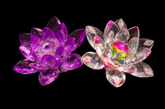 2 Crystal flowers on a black Royalty Free Stock Images