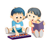 2 cute smart kids. Reading books and playing abacus vector illustration