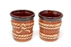 2 cuvettes décoratives brunes Images stock