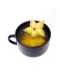 2 czarny filiżanki owoc gwiazdy kolor żółty Obrazy Stock
